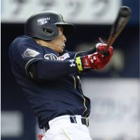 Key clout: The Buffaloes' Yoshio Itoi slugs a solo home run in the fourth inning against the Lions on Sunday. Orix beat Seibu 3-2. | KYODO