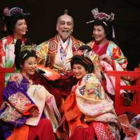 Life at the top: Akaji Maro (center) stars as Toyotomi Hideyoshi in 'Zipang Punk — Goemon Rock III.'.