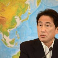 Foreign Minister Fumio Kishida answers questions during a news conference in Tokyo on Friday after the Foreign Ministry issued a travel advisory for Thailand. | AFP-JIJI
