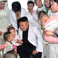 North Korea leader Kim Jong Un meets Pyongyang orphans. | AFP-JIJI