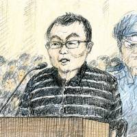 Yusuke Katayama testifies Thursday at the Tokyo District Court. | KYODO