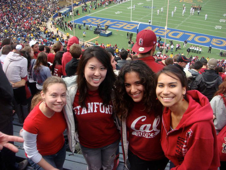 California dreaming: Aya Inamori Williams (second left) and friends attend the Big Game, an annual American football match between Stanford University and regional rivals University of California, Berkeley, in 2010.