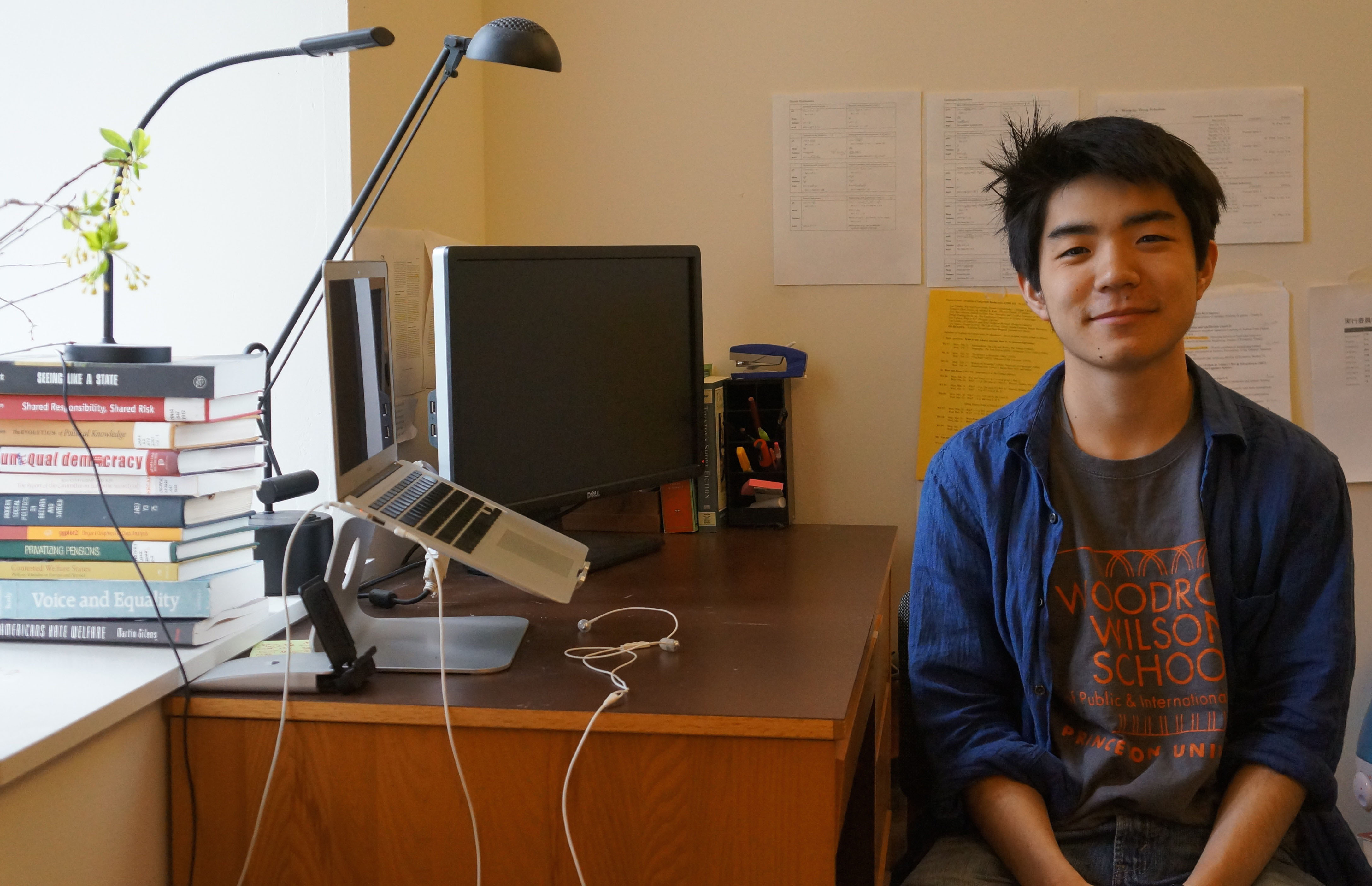 Looking east: Shiro Kuriwaki sports a Woodrow Wilson School of Public and International Affairs T-shirt in his dorm in Princeton, New Jersey.