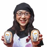 Say it with Sushi: Takayo Kiyota (Tama-chan) holds up 'Scream' sushi rolls after one of her workshops. | DAPHNE MOHAJER-VA-PESARAN