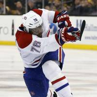 Rocket shot: Montreal's P.K. Subban fires the winning shot against Boston in the second overtime of Game 1 on Thursday night. The Canadiens beat the Bruins 4-3. | AP