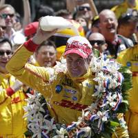 Feels so good: Ryan Hunter-Reay celebrates with milk after winning the Indy 500 on Sunday. | AP