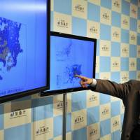 Meteorological Agency official Yohei Hasegawa speaks at a press conference after a strong quake shook up Tokyo early Monday. | AFP-JIJI