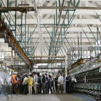 Tourists flock to Tomioka Silk Mill in Tomioka, Gunma Prefecture, on April 26, the day after the facility was recommended for listing as a UNESCO World Heritage site. | KYODO