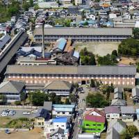 The Tomioka Silk Mill, built in 1872 in Tomioka, Gunma Prefecture, is shown on April 26. More than 8,100 people reportedly visited the mill on Sunday, setting a new record. | KYODO