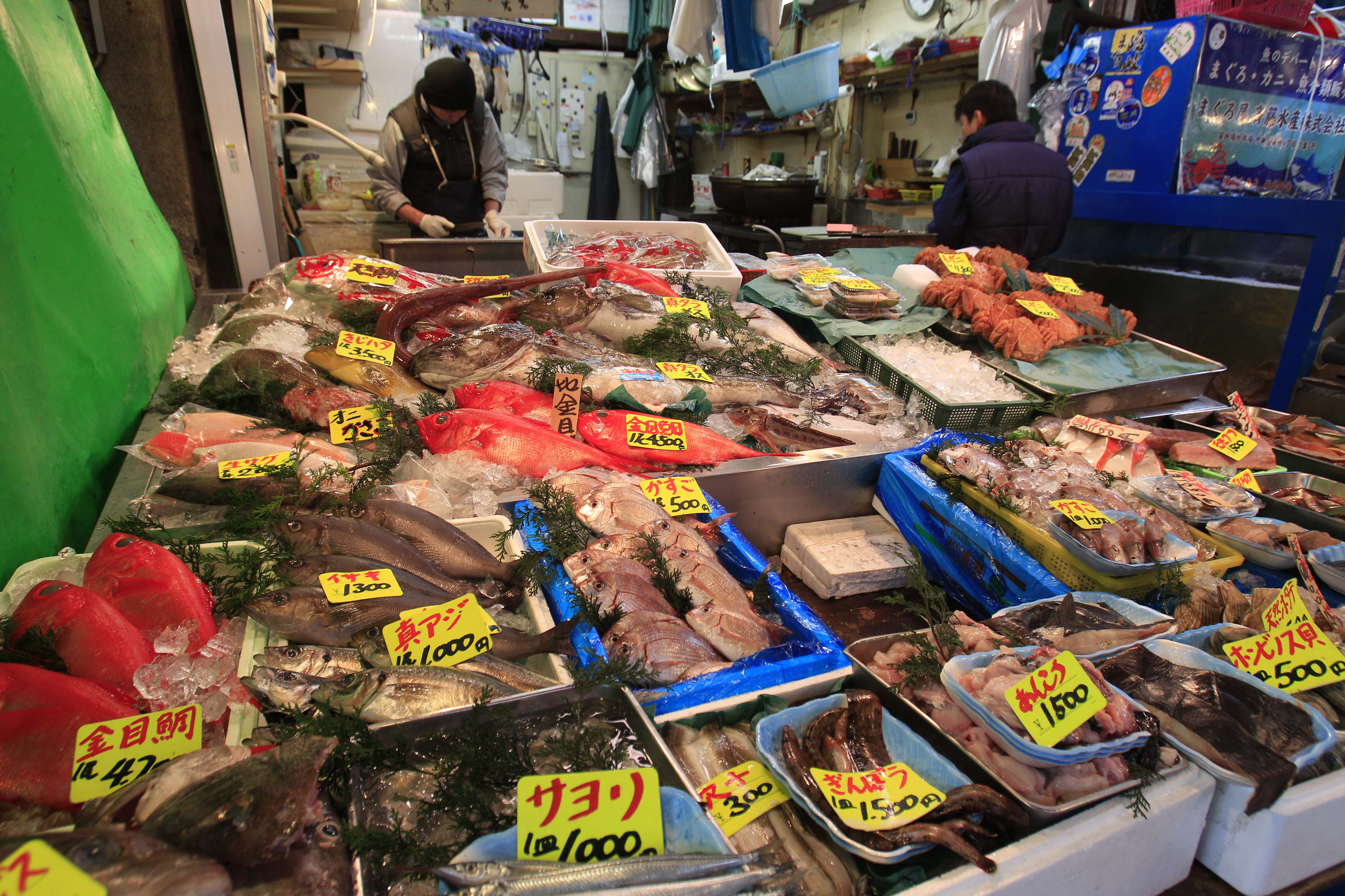 Fish products are displayed at a shop near the tsukiji for Japan fish market
