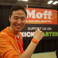 Akinori Takahagi poses with a Moff wristband toy at the South by Southwest tech festival in the United States in March. | SHOTA MOROZUMI OF SAMURAI INCUBATE