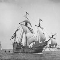 A 19th-century replica of Christopher Columbus' caravel Santa Maria is shown in this photo from about 1892, provided by the United States Library of Congress. | REUTERS