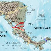 Lines showing several proposed courses for the Nicaragua canal and the existing course of the Panama Canal can be seen on this map, which is based on a CIA map of Central America and information from the International Business Times. | SOERFM