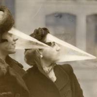 Women wear plastic cones on their faces to protect themselves during a snowstorm in Montreal in 1939. Man-made global warming has paradoxically brought warmer winters to North America. | NATIONAAL ARCHIEF/SPAARNESTAD/HET LEVEN