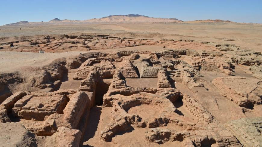 The foundations of four pyramids and other buildings unearthed in Sudan by a French archaeological team lie in the desert at Sedeinga, about 500 km north of Khartoum.