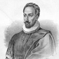 There are no contemporary images of Miguel de Cervantes, only portraits made after his death. This unsigned lithograph dates from the 19th century. | WIKIMEDIA COMMONS