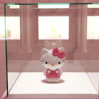 A Sanrio Co. Hello Kitty figure made of Swarovski crystals is displayed during 'Swarovski presents the 'House of Hello Kitty,' ' a commercial event held at Omotesando Hills in Tokyo in June 2011. | BLOOMBERG