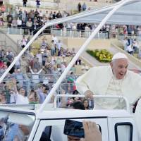 In nod to Palestinian statehood, Pope lands in Bethlehem