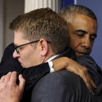 Obama says goodbye to White House press secretary Carney