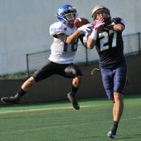 Kinoshita makes three TD grabs in Seagulls' rout over BigBlue