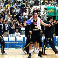 All square: Link Tochigi forward/center Tommy Brenton celebrates after the Brex's 95-81 win over the Toyota Alvark in Game 2 of the NBL Eastern Conference semifinals on Sunday. | KAZ NAGATSUKA