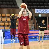 Star performer: Nick Fazekas of the Toshiba Brave Thunders, seen practicing on Tuesday at Yoyogi National Gymnasium No. 2, led the NBL in scoring (26.4 points per game) and rebounding (13.5) during the regular season. | KAZ NAGATSUKA