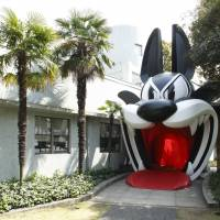 Dog's dinner: The entrance to Nicolas Buffe's solo exhibition 'The Dream of Polifilo' at the Hara Museum has been transformed into a giant cartoon dog's mouth. | HARA MUSEUM OF CONTEMPORARY ART