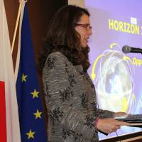 Maria Cristina Russo, director for international cooperation in the European Commission's Directorate-General for Research and Innovation, speaks at a Horizon 2020 seminar on April 14 at the EU Delegation in Tokyo. | EU DELEGATION TO JAPAN