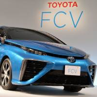 An FCV hydrogen fuel-cell vehicle is displayed during a media preview at a Toyota showroom in Tokyo on Wednesday. | AFP-JIJI