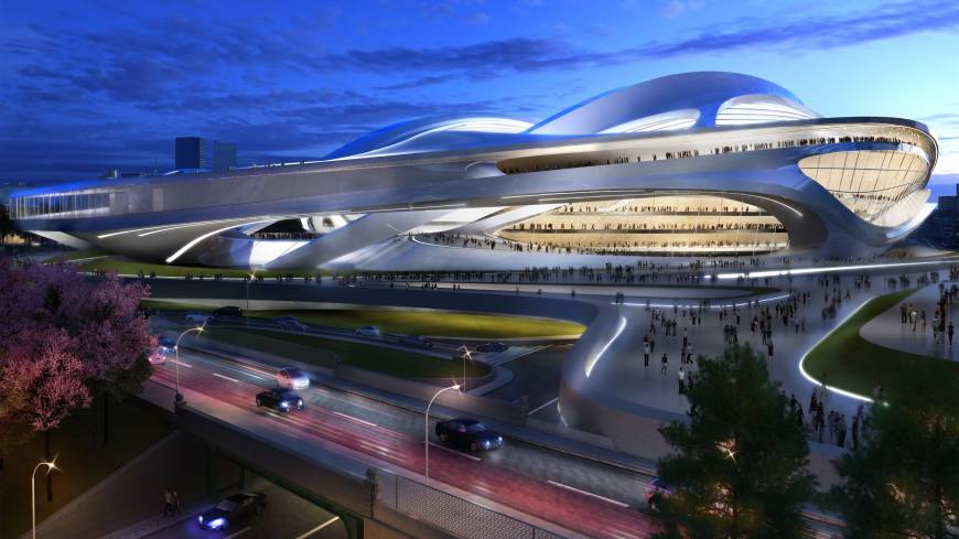 This artist's rendering shows the National Stadium initially designed by Zaha Hadid for the 2020 Tokyo Olympics.