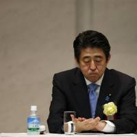 Prime Minister Shinzo Abe attends the general assembly of Keidanren, the nation's top business lobby, in Tokyo on Tuesday. Abe could make a trip to North Korea, Foreign Minister Fumio Kishida has said. | REUTERS