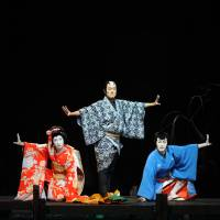 "Special blend: The kabuki actors (left to right) Shichinosuke Nakamura, Kankuro Nakamura and Matsuya Onoe, who all combine in the current Cocoon Kabuki production of ""Sannin Kichisa."" 