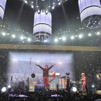 Grand finale: The stage explodes in a circuslike atmosphere during Sekai no Owari's set.