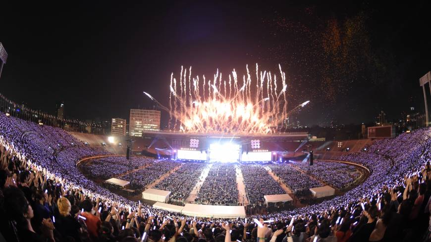 Grand finale: Fireworks mark the end of Japan Night at the National Olympic Stadium. The stadium was built for the 1964 Tokyo Olympics and will be torn down to make way for a new venue to host the 2020 Olympic Games.