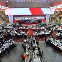 The main BBC newsroom in London.  | BBC Worldwide