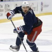 New frontier: New York's Mats Zuccarello practices ahead of Wednesday's Stanley Cup finals opener against Los Angeles. | AP