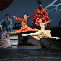 On a high: An uplifting moment in David Bintley's version of 'The Prince of the Pagodas,' his swan song as artistic director for dance at the New National Theatre, Tokyo, where he created and first staged it in 2011, early in his four-year tenure. | HIDEMI SETO