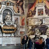 Final masterpieces: The Basilica of Santa Croce in Florence, Italy, enshrines the remains of many artists and thinkers, including the tombs of Galile (left) and Michelangelo. | AP