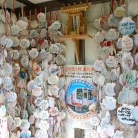 Thieves severed strings to remove celebrity messages from the many shells hanging inside Koishihama Station, Iwate Prefecture, seen here on May 29. | KYODO