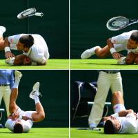 Stop, drop, and roll: Novak Djokovic falls during his third-round match against Gilles Simon on Friday. Djokovic won 6-4, 6-2, 6-4 to advance to the fourth round of Wimbledon at the All England Club. | AFP-JIJI