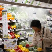 A customer shops for vegetables at an Aeon Co. supermarket in Chiba Prefecture on April 1. The government is considering the introduction of a new labeling system for foods aimed at health-conscious shoppers. | BLOOMBERG