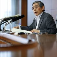 BOJ Gov. Haruhiko Kuroda holds a news conference at the central bank on Friday. | BLOOMBERG