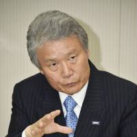 New Keidanren Chairman Sadayuki Sakakibara is interviewed recently in Tokyo. | KYODO