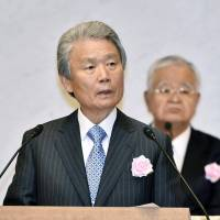 Sadayuki Sakakibara, the new chairman of the country's most powerful business lobby, Keidanren, speaks at his inaugural news conference on Tuesday in Tokyo. | KYODO