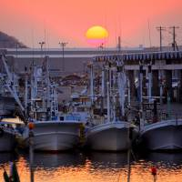Fishing boats are seen in Oarai, Ibaraki Prefecture, south of Fukushima, in April 2011.  | BLOOMBERG