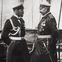 A picture of a postcard released by the Museum of the Great War in Peronne, France, shows German Emperor and King of Prussia Wilhelm II (right) with his cousin Nicholas II, emperor of Russia, grand duke of Finland and titular king of Poland, some weeks prior to the declaration of World War I. The French caption reads, 'Hypocritical Wilhelm II smiling to his cousin Nicholas II.' In the four days before World War I broke out, the Russian czar and his cousin traded telegrams in a last-ditch bid to save peace, even as their army chiefs readied for battle. | AFP-JIJI