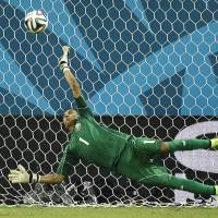Saving grace: Costa Rica goalkeeper Keylor Navas stops a shot during the penalty shootout against Greece on Sunday at the 2014 World Cup. Costa Rica won the match. | AP