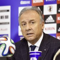 Takes responsibility: Japan coach Alberto Zaccheroni announces his resignation on Wednesday following's Japan's disappointing first-round exit at the World Cup in Brazil. |  KYODO