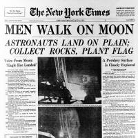 The front page of the New York Times on July 21, 1969, splashed the lunar landing of Apollo 11. The 45th anniversary of the landing is Sunday.   AP