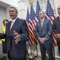 Speaker of the House John Boehner of Ohio, joined by from left, Rep. Cathy McMorris Rodgers, R-Wash., incoming Majority Leader Rep. Kevin McCarthy, R-Calif., and House Veterans' Affairs Chairman Rep. Jeff Miller, R-Fla., speaks to reporters on Capitol Hill on Tuesday following a Republican strategy session, during which he ruled out any attempt to impeach  President Barack Obama. | AP